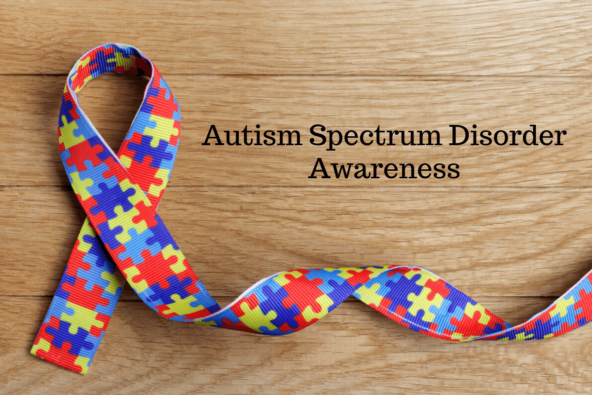 The colorful puzzle shape ribbons represents autism spectrum disorder.