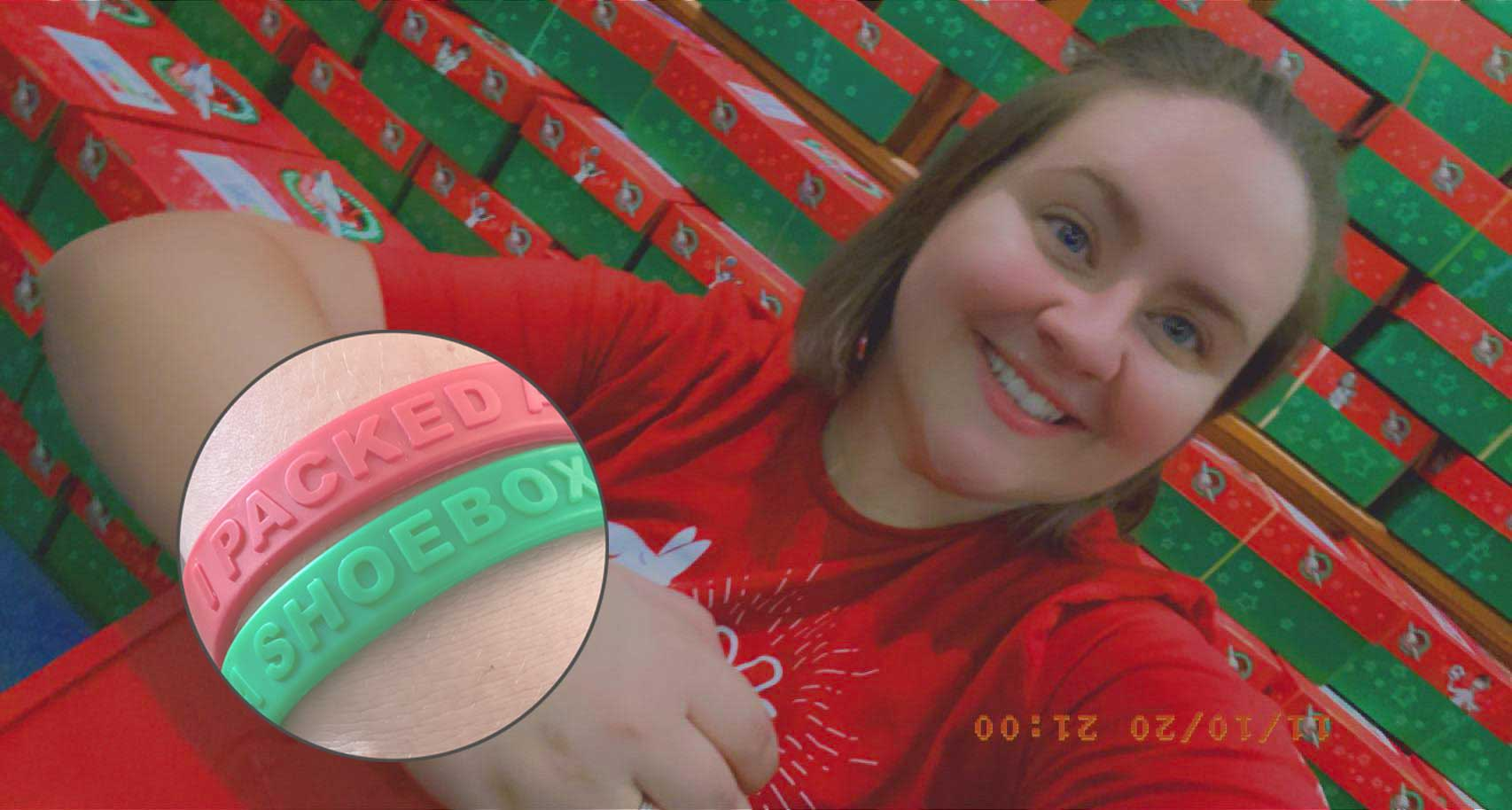 Elizabeth Wearing I Packed A Shoebox Wristbands