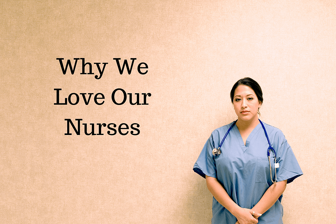 Nurse posing in front of a brown canvas. Help support nurse appreciation day.