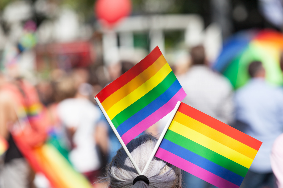 A woman has two small pride flags in her hair. the pride representing pride month.