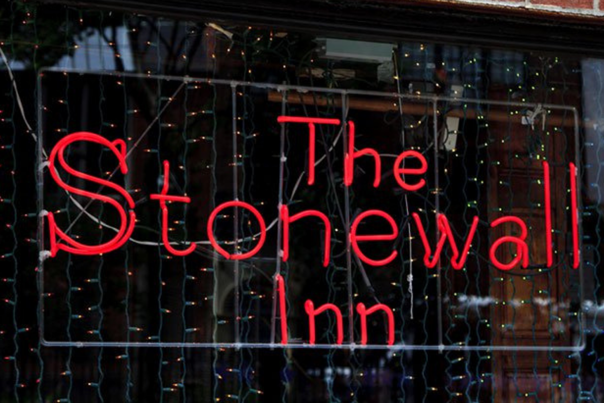 The hotel sign of the famous Stonewall Inn.