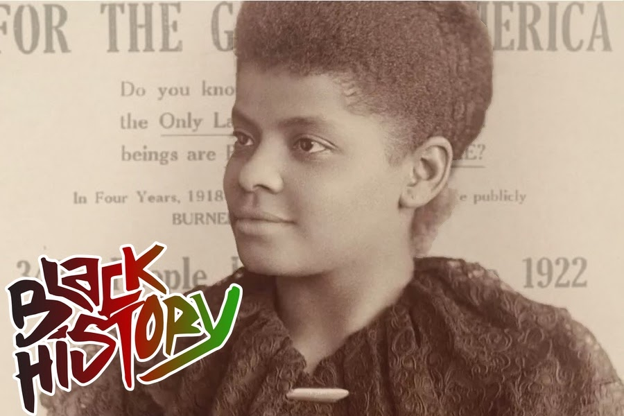 "Portrait of Ida B. Wells with the words ""Black History"" in a stylized font in the bottom left corner"