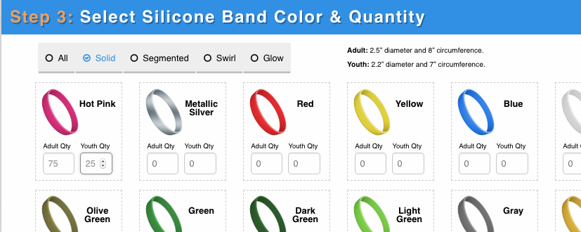 Next, pick a color and the amount you'd like to order…