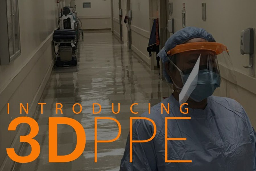 """A nurse wearing PPE. The words """"Introducing 3DPPE"""" in orange"""