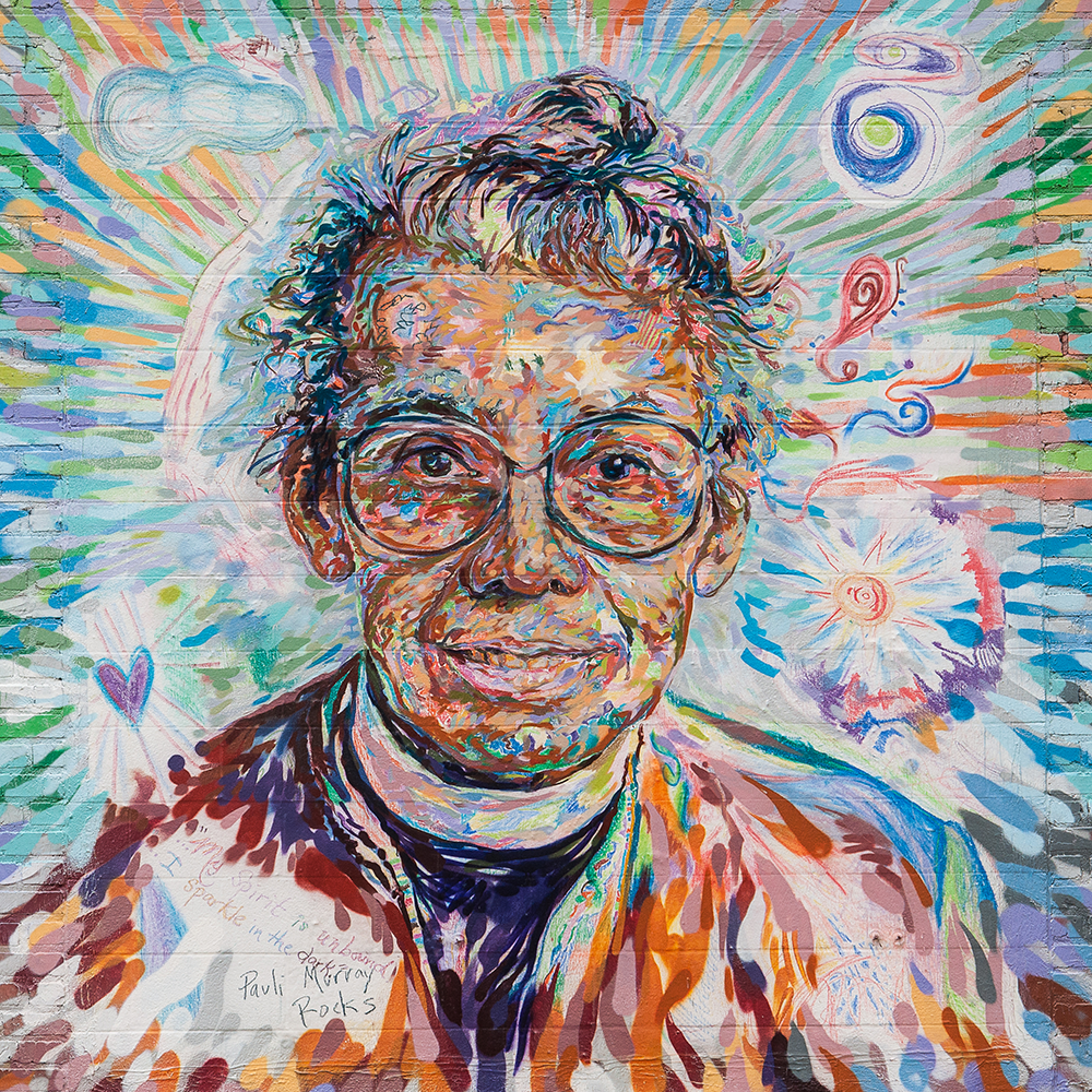 An outdoor mural of Pauli Murray