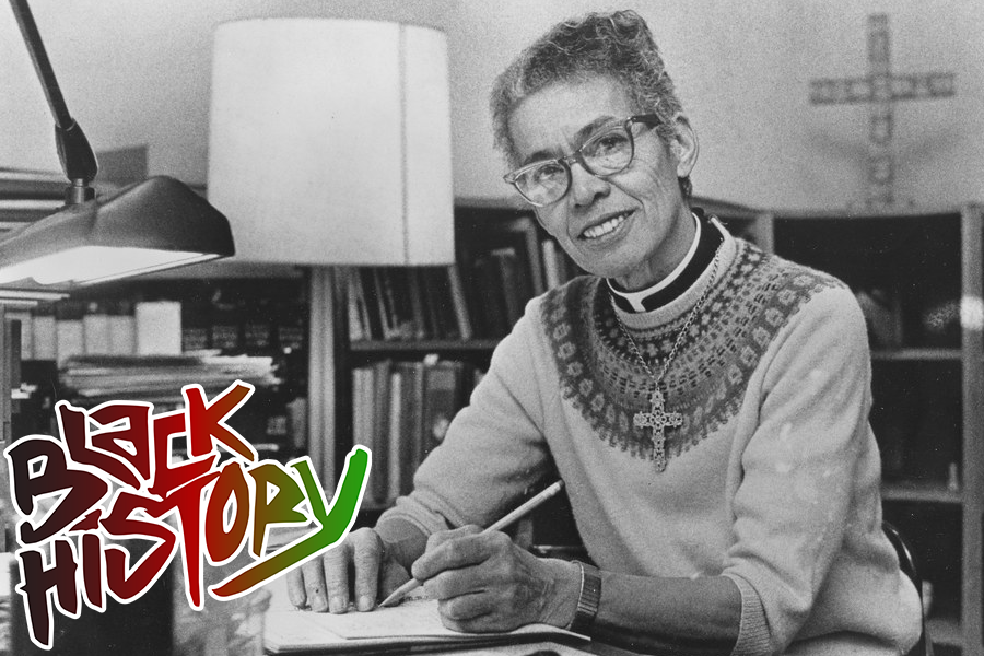 Black and white photo of Pauli Murray with the words Black History Month